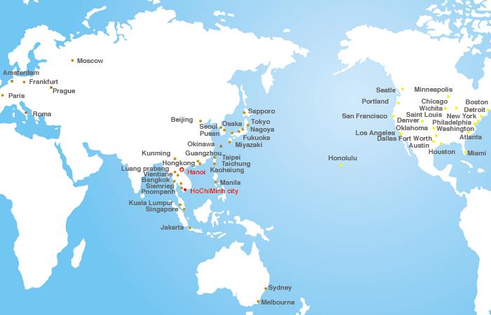 Các đường bay tiêu biểu của hãng Vietnam Airlines